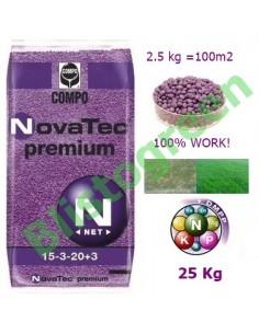 Добриво для газону Compo NovаTec 15-3-20+3 (Компо НоваТек) 25 кг